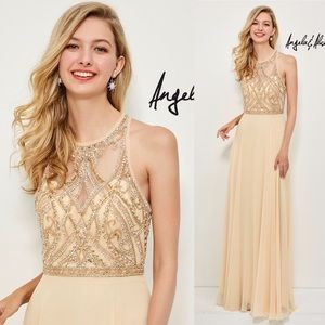 Long champagne chiffon prom dress with beaded top